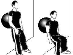 Wall squat with fitness ball