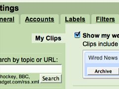 Gmail web clips