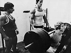 Franco Colombu, Arnold Schwarzenegger and Ken Waller (squatting)