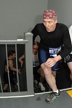 Ron Hiestand competing in the 30th annual NYRR Empire State Building Run-Up.
