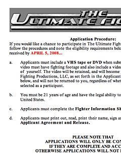 Application for TUF 8