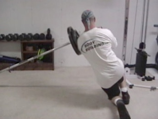 Sideways Barbell Lunge